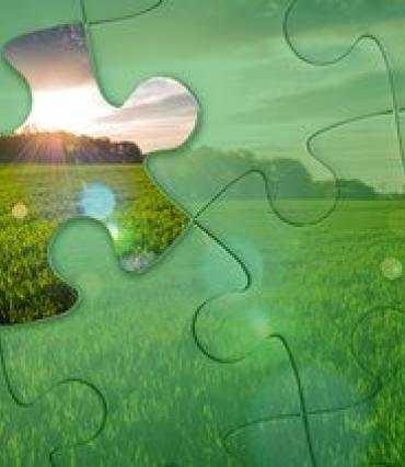 A puzzle pattern imposed over a farm pic. Sunshine comes through a missing piece