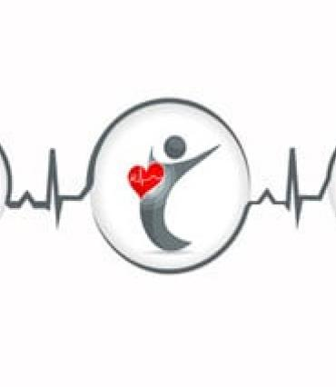 An apple, a person stretching, and a happy person linked by an EKG monitor line.